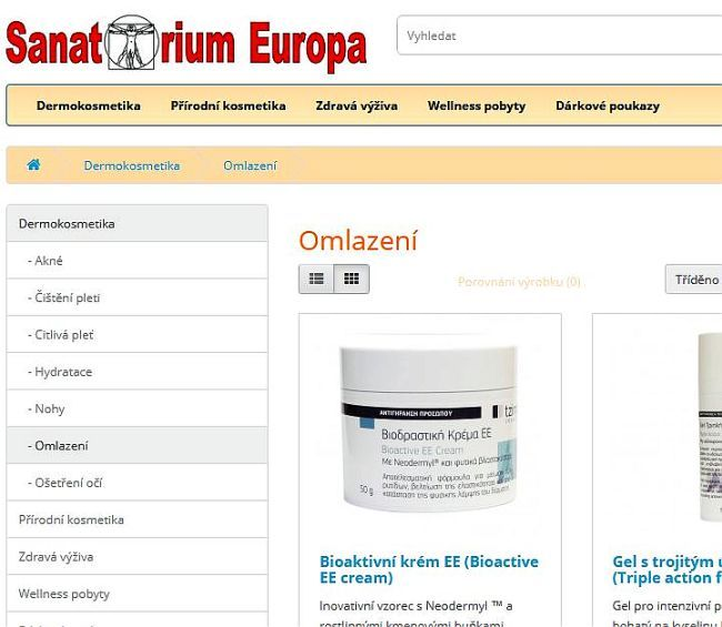 E-shop Sanatorium Europa